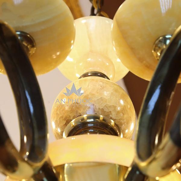 Đèn chùm tân cổ điển đồng đá – AP2822/8+8