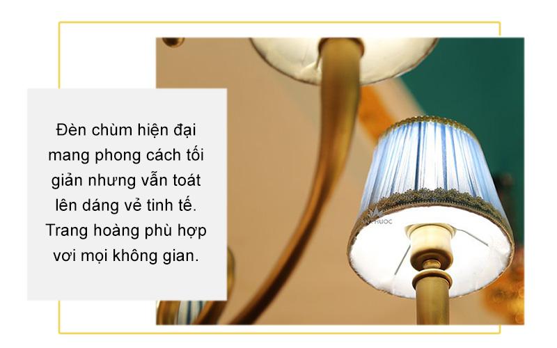 Đèn chùm chao vải hiện đại – 6886-5