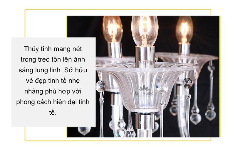 Đèn chùm tân cổ điển thuỷ tinh – AP8813/8