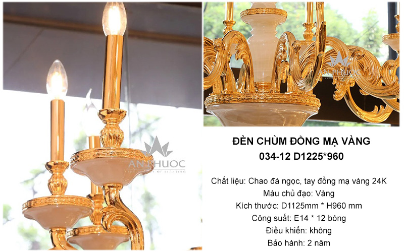 Đèn chùm đồng mạ vàng 034-12 D1225*960