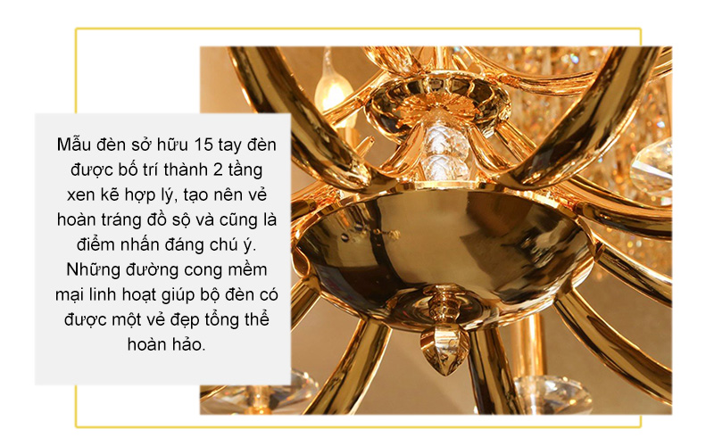 Đèn chùm đồng mạ vàng 24K 99805-10+5