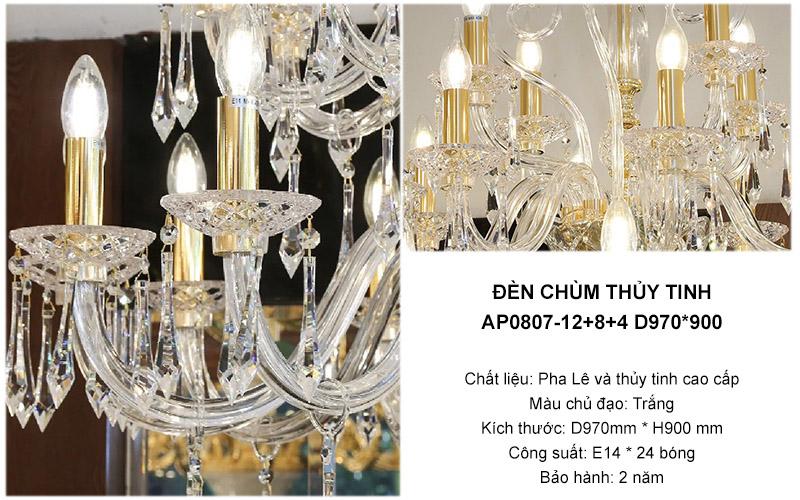 Đèn chùm thuỷ tinh – AP0807-12+8+4 D970*900