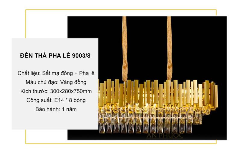 Đèn thả pha lê – 9003/8 (Elip)