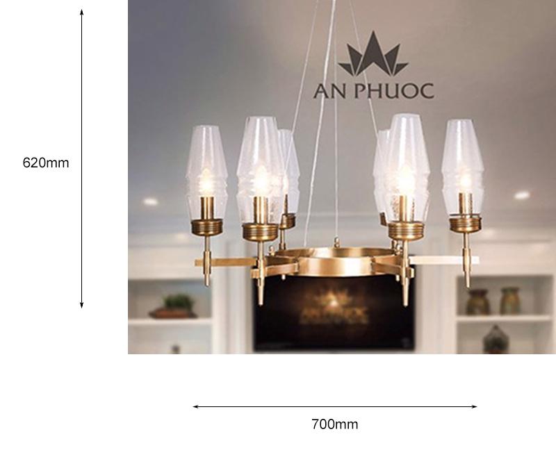 Đèn thả đồng chao thủy tinh – AP7002/6L