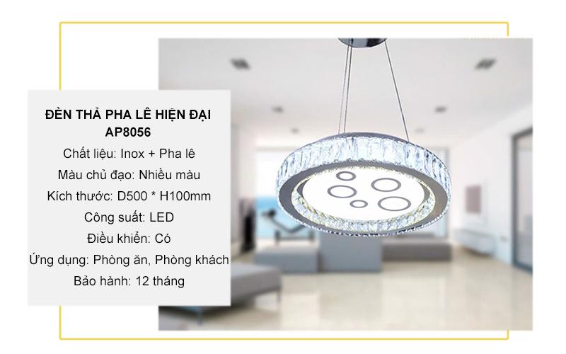 Đèn pha lê thả trần – AP8056 (Tròn)
