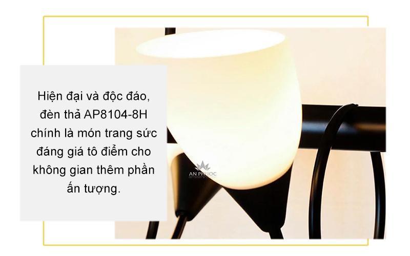 Đèn thả hiện đại sắt chao thủy tinh – AP8104-8H