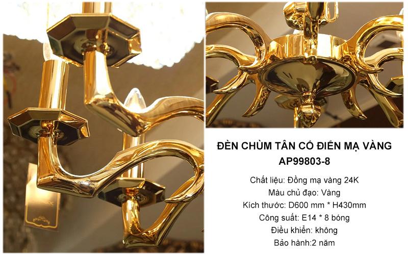 Đèn chùm đồng tân cổ điển mạ vàng 24K – AP99803-8