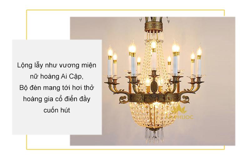Đèn chùm đồng pha lê hoàng gia 68900-4-8-8