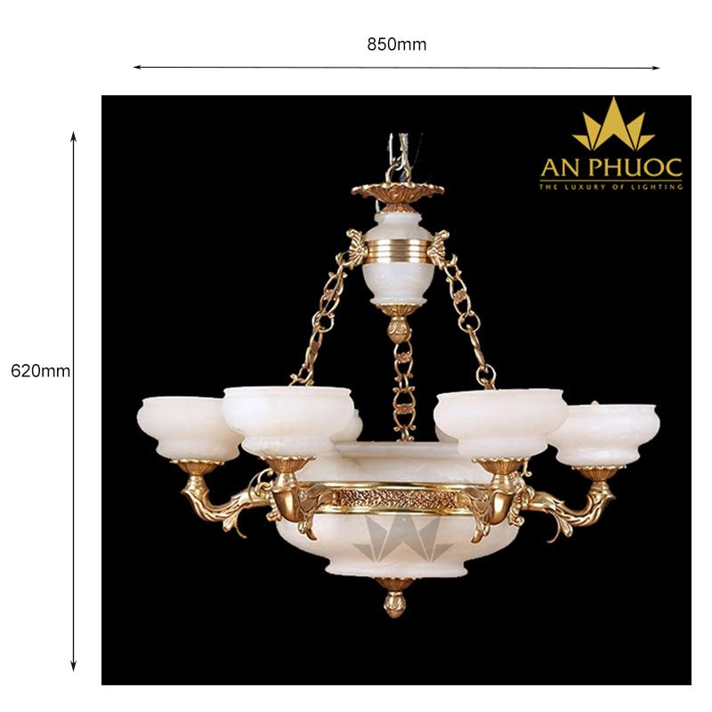 Đèn chùm đồng đá ngọc phong cách Tây Ban Nha – AP5534