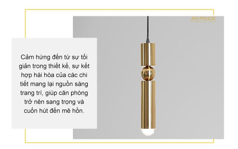Đèn thả hiện đại màu đồng ZD-003
