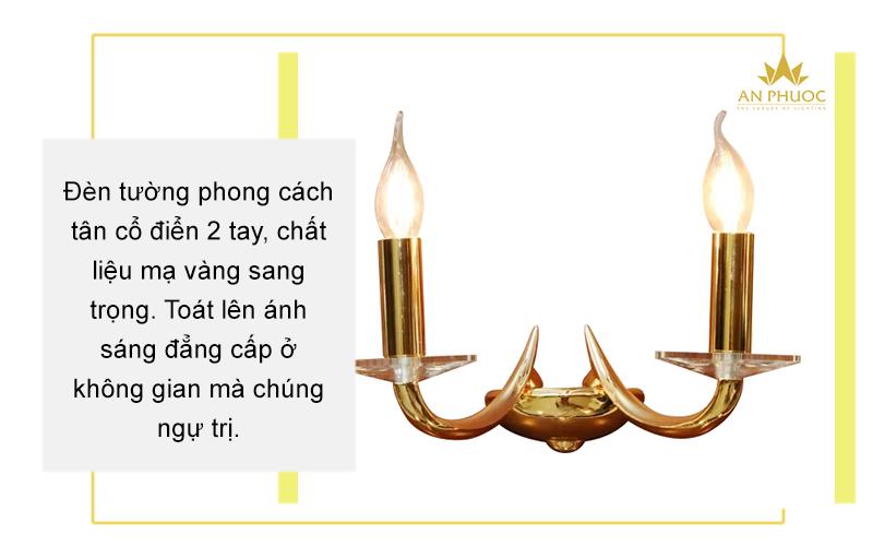 Đèn tường đồng mạ vàng 24K – AP99805-L2