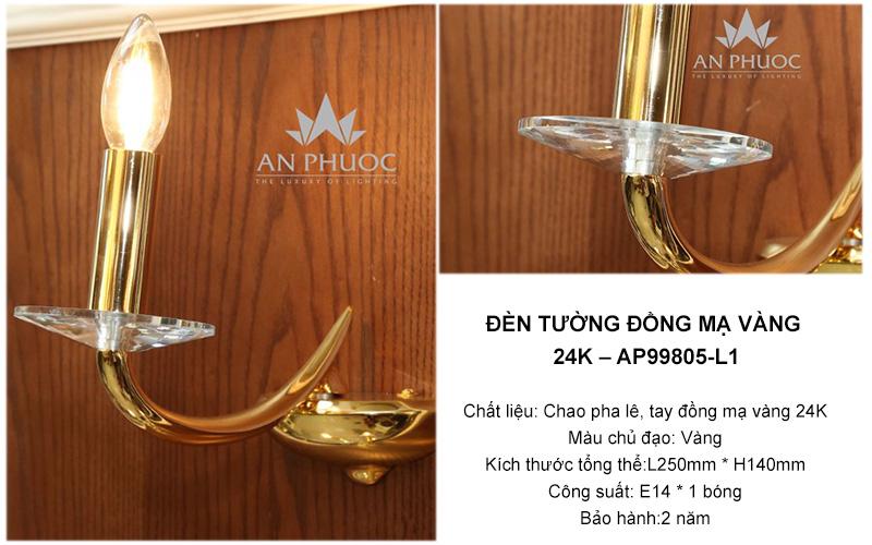 Đèn tường đồng mạ vàng 24K – AP99805-L1