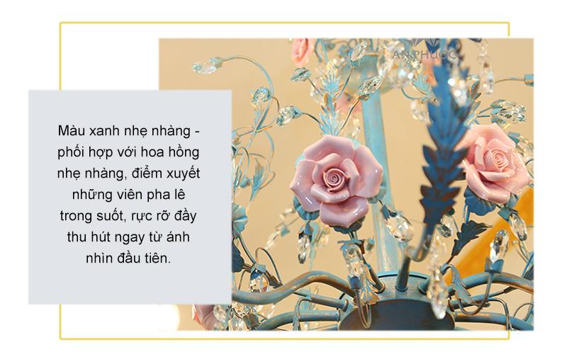 Đèn chùm gốm hoa hồng – D1107/8