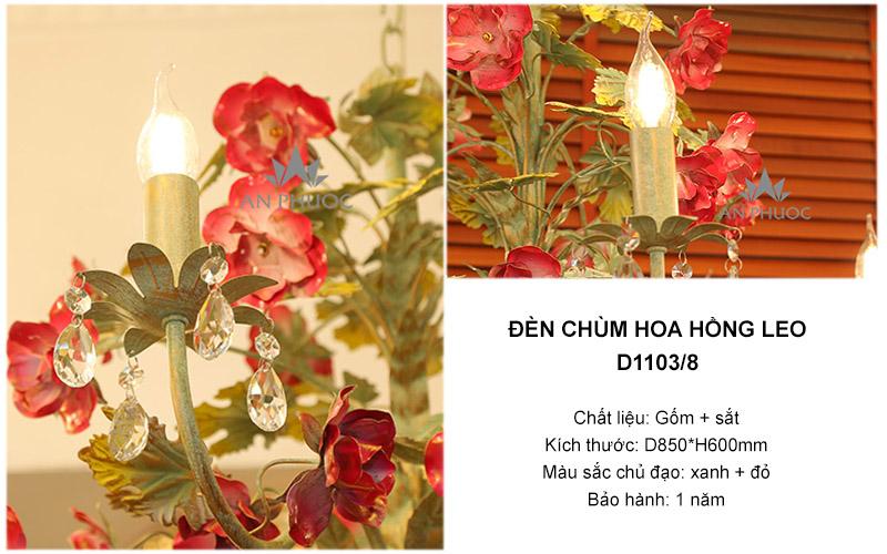Đèn chùm hoa hồng leo hiện đại – D1103/8