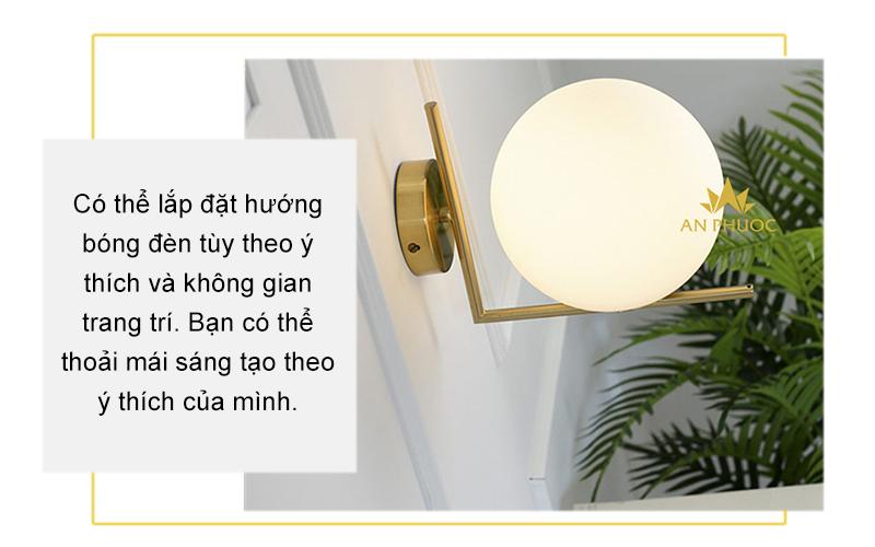 Đèn tường hiện đại màu đồng chao thủy tinh – B003 E27