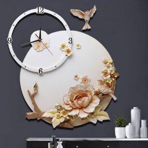 Đồng hồ treo tường cách điệu hoa cỏ chim muông - 1