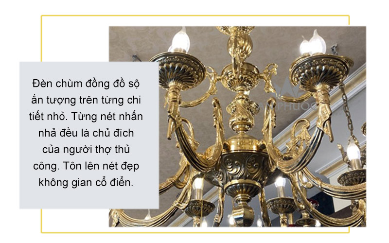 Đèn chùm đồng mạ vàng 24k – 800-839-6668-8+4
