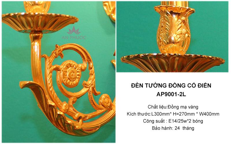 Đèn tường đồng mạ vàng tân cổ điển – AP9001-2L