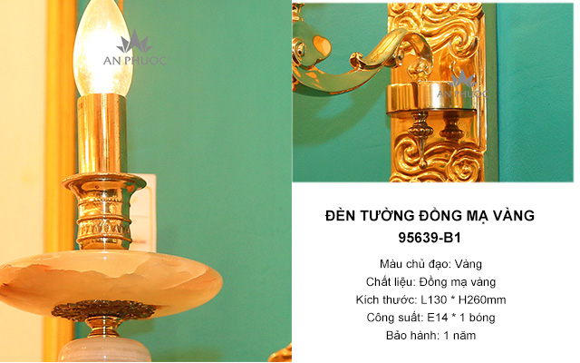 Đèn tường đồng mạ vàng cao cấp – 95639-B1