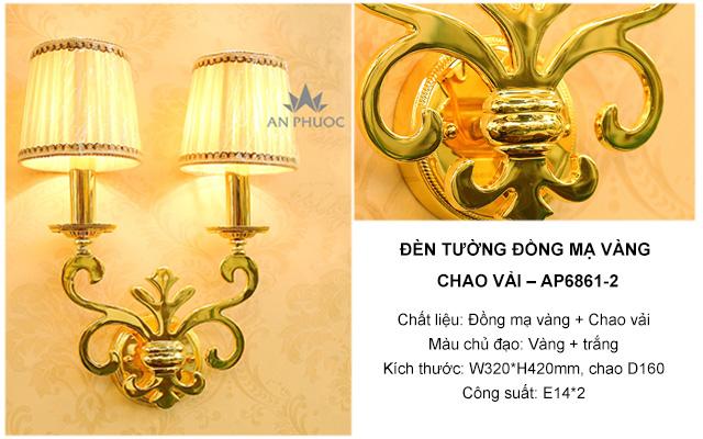 Đèn tường đồng mạ vàng chao vải – AP6861-2